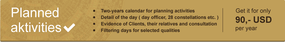 Planned Activities Module, two-years calendar for planning activities, detail of the day, records of clients, their relatives and consultations, filtering days for selected day qualities, get it only for 90 USD per year